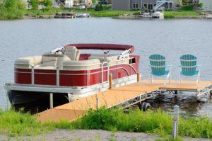 Docked pontoon boat