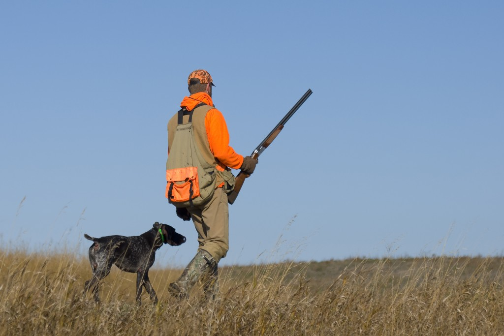 man with his dog out for hunting